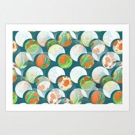 Mid Century Circles Abstract Suns and Moons Art Print