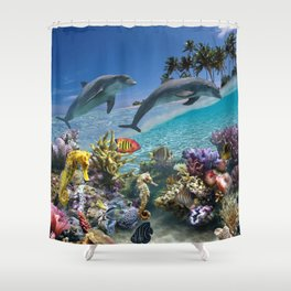 Coral Reef and Dolphins Shower Curtain