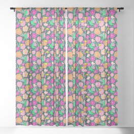 Hummingbirds and Bees Spring Pollinator Floral Sheer Curtain
