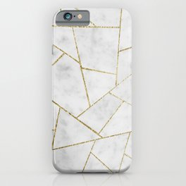 White Marble Gold Geometric Glam #1 #geo #decor #art #society6 iPhone Case
