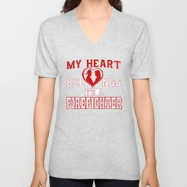 My heart belongs to a Firefighter Unisex V-Neck