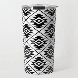 Aztec Symbol Pattern Black on White Travel Mug