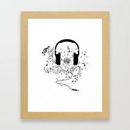 Headphones and Music Notes Framed Art Print
