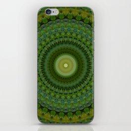 Green and brown mandala iPhone Skin