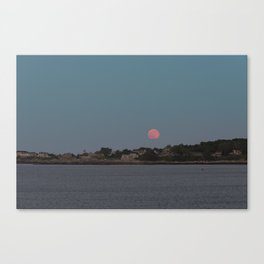 Full Strawberry Moon Rising over Rockport Canvas Print