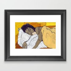 the Bed Framed Art Print