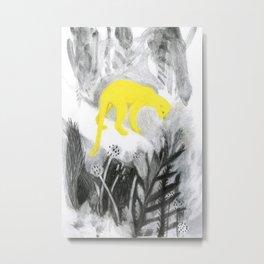 Yellow Panther Metal Print