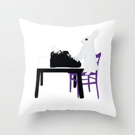 A Bunny's Life, animal gift, typing bunny, animal lover gift, bunny gift Throw Pillow