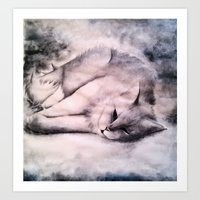 My Cat Black and White  Art Print