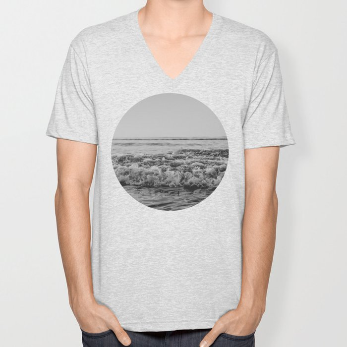 Black and White Pacific Ocean Waves Unisex V-Neck