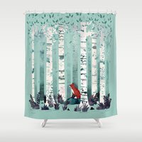 autumn Shower Curtains featuring The Birches by littleclyde