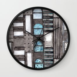 Gray Facade with Lighted Windows Wall Clock