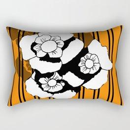 Flower and Stripes Rectangular Pillow