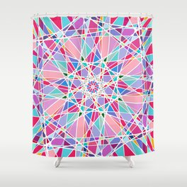 Geometric White Pink Teal Eclectic Contemporary Art Shower Curtain