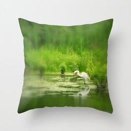 Marsh Egret 2 Throw Pillow