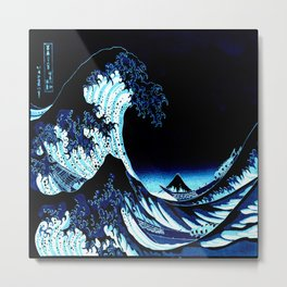 the Great Wave Blue Metal Print