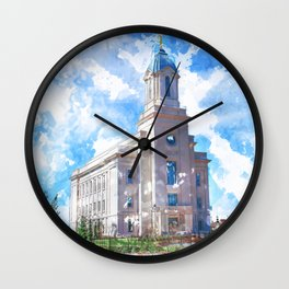 Cedar City LDS Temple Watercolor Wall Clock