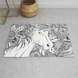 Whimsy unicorn and floral mandala design Rug