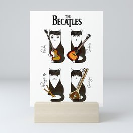 Four cats with guitars for music fans Mini Art Print