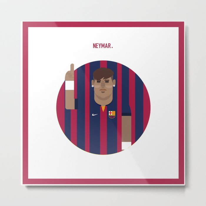 Neymar Barcelona Illustration Print Metal Print