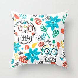 Summer sugar skulls Throw Pillow