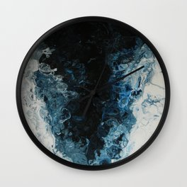 Blue Tornado, abstract acrylic fluid painting Wall Clock