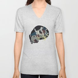 cat dreaming in meadow Unisex V-Neck