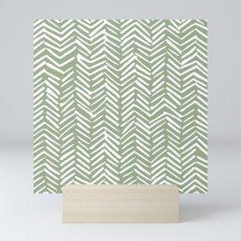 Boho, Abstract, Herringbone Pattern, Sage Green and White Mini Art Print