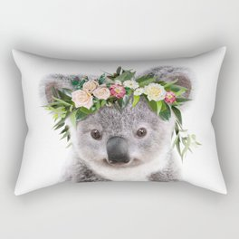 Baby Koala With Flower Crown, Baby Animals Art Print By Synplus Rectangular Pillow