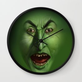 Green Witch face Wall Clock