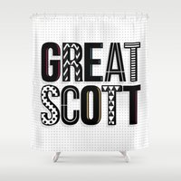 scott pilgrim Shower Curtains featuring great scott by Sarah Brust