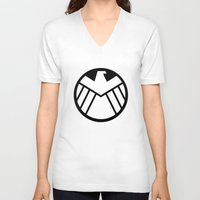 shield V-neck T-shirts featuring SHIELD by Merioris