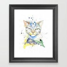 Suspicious Cat Framed Art Print