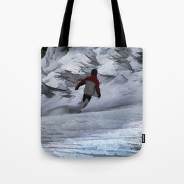 """Snowboarder """"Carving the Mountain"""" Winter Sports Tote Bag"""