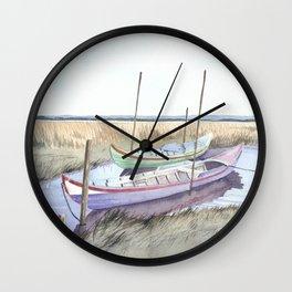 River bank boats - Landscape - Ria de Aveiro , Portugal Wall Clock