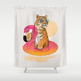 Chillin (Flamingo Tiger) Shower Curtain