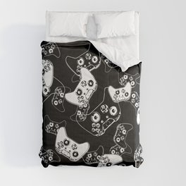 Video Game White on Black Comforters