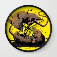 rat Wall Clocks featuring rat fight by antoniopiedade
