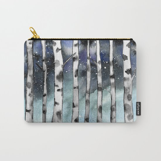 Birch Shadows In Winter Carry-All Pouch