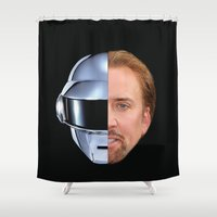 nicolas cage Shower Curtains featuring Daft Cage by Jared Cady