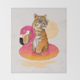 Chillin (Flamingo Tiger) Throw Blanket
