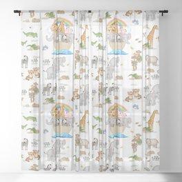 Noahs Ark Animals Sheer Curtain