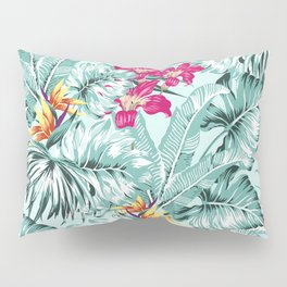 Bird of Paradise Greenery Aloha Hawaiian Prints Tropical Leaves Floral Pattern Pillow Sham