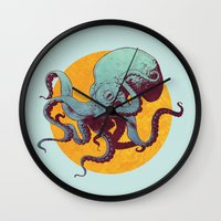octopus Wall Clocks featuring Octopus by Calavera