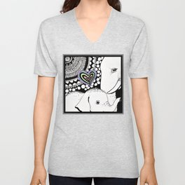 Mother And Baby Elephant With Heart  Unisex V-Neck