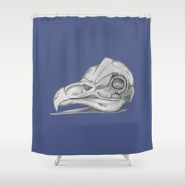 Barn Owl Skull Muted French Blue Shower Curtain