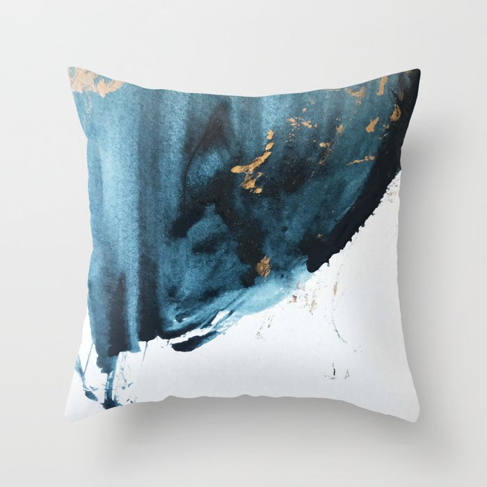 A Minimal Sapphire And Gold Abstract Piece In Blue White And Gold By Alyssa Hamilton Art Throw Pillow By Blushingbrushstudio Society6