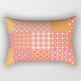 25 Designs Patchwork in Orange Pink and Yellow Rectangular Pillow