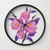 study Wall Clocks featuring Flower study by Bexelbee