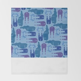 Blue Moose Pattern Throw Blanket